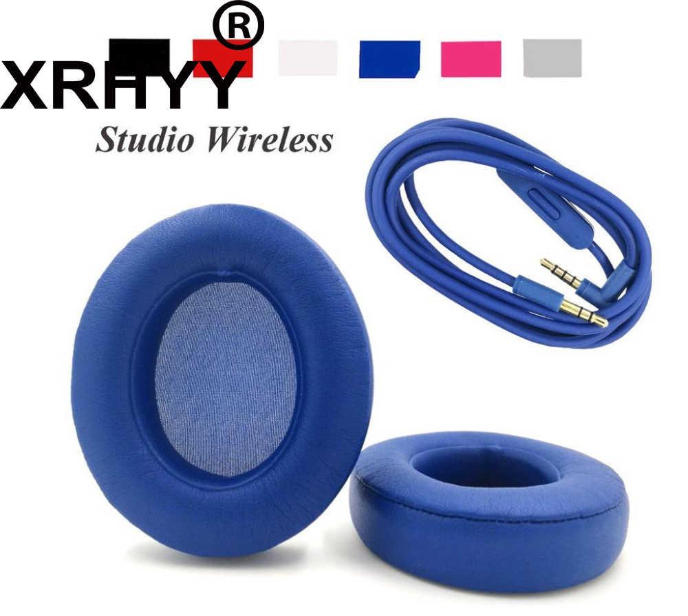 XRHYY Синий Замена амбушюр + Аудио проводной микрофон разговора для Beats dr Dre Studio 2,0 беспроводные наушники-вкладыши