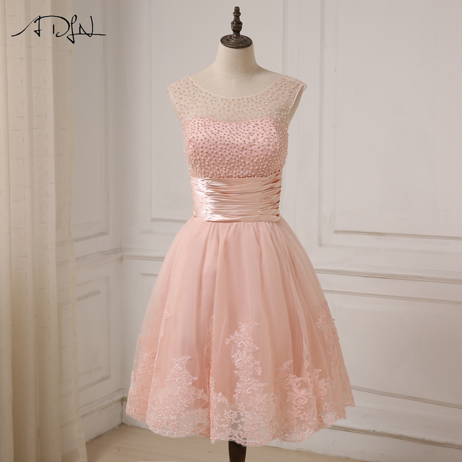 ADLN Cheap Pink Cocktail Dresses Cap Sleeve Applique Pearls Girls Short Party Gowns Zipper Up Back
