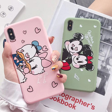 Mickey Minnie Donald Daisy Duck matte Phone Case For iPhone X 8 7 Plus TPU Cartoon Soft Back Cover 6 XR XS MAX case