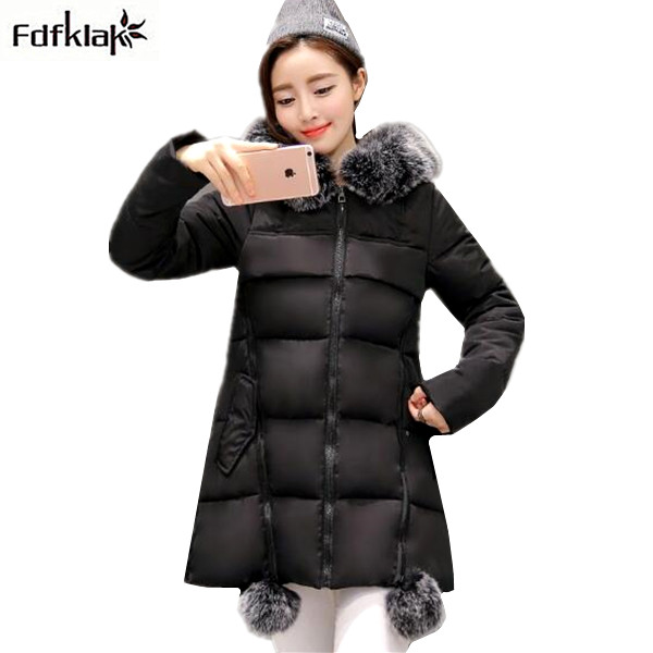 Female Winter long down jackets large size winter jacket women fur collars thick warm cotton-padded parkas female hooded coats large size winter parkas women hooded jacket coats korean loose thick big fur collar down long overcoat casual warm lady jackets