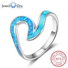 Océano Estilo de Plata de ley 925 Forma de Onda Azul Piedra de Ópalo Anillos de Dedo de la Joyería Partido de Las Mujeres Mejor Amigo Regalo (JewelOra RI102847)