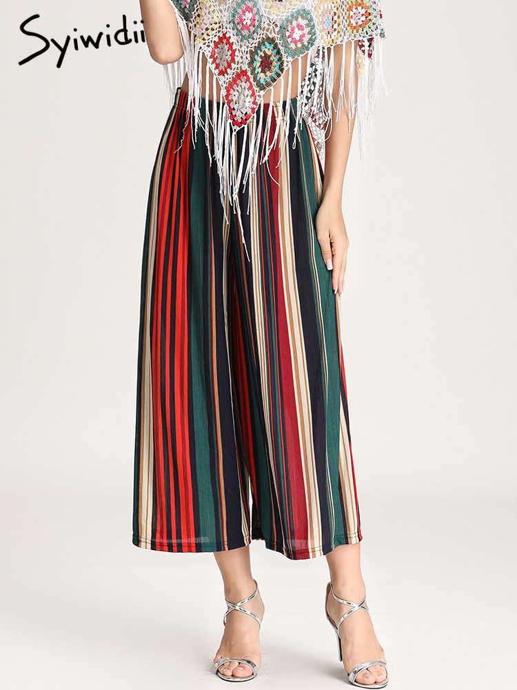 2019 Summer Women Vintage   Wide     Leg     Pant   Casual Loose Striped Trousers Ladies Boho Beach Elastic High Elastic Waist   Wide     Pants