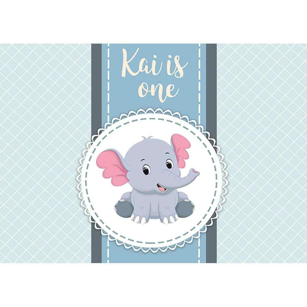 Allenjoy портрет дверной фон пользовательское имя белая решетка дети милый синий слон День рождения белая рамка фон fotografia