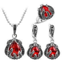 Fashion Wedding Jewelry 3 Pcs/set Water Drop Jewelry Sets For Women Silver Acrylic Crystal Vintage Necklace&Earring&Ring Female