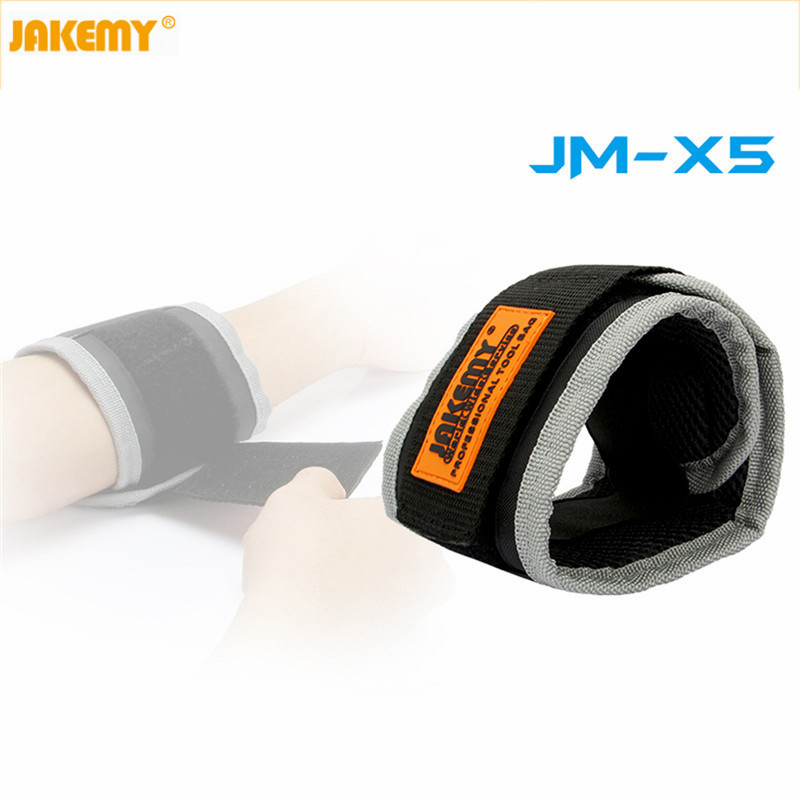 JAKEMY JM-X5 Magnetic Wrist Band Wristband Bracelet Belt Pocket Hand Tool Holding Screw Keeper Nail Drill Bit Repair Adsorption