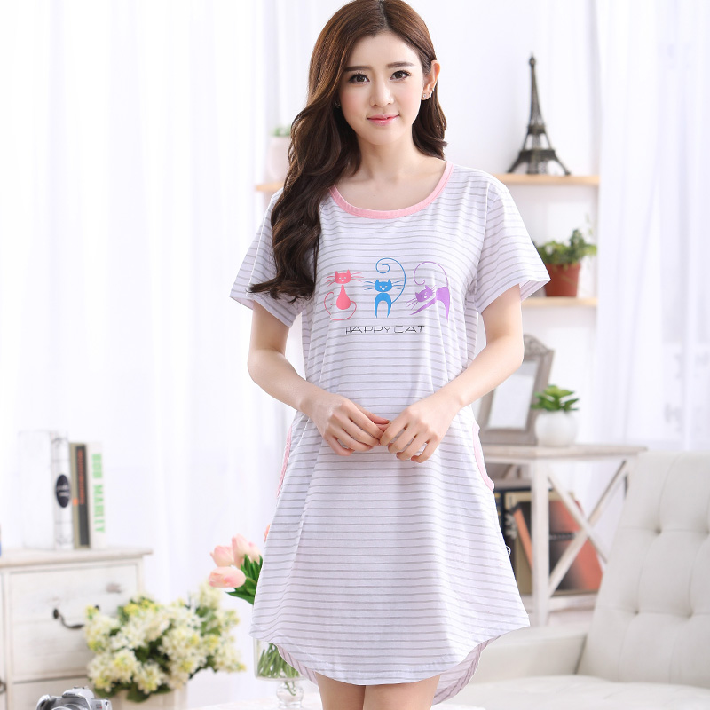 Brand Cotton Nightshirts Women's   Nightgowns     Sleepshirts   Cute Cartoon Nightdress Girl Sleepwear Femme Pyjamas Women Lounge Dress