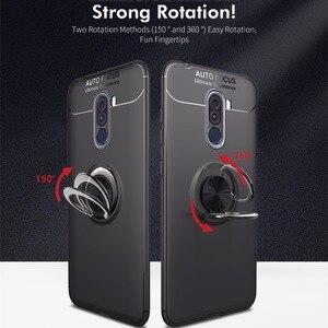 Image 2 - Étui antichoc pour Pocophone F1 étui anneau de doigt aimant mat housse en Silicone pour Xiaomi PocoPhone F1 étui pocophon Poco F1