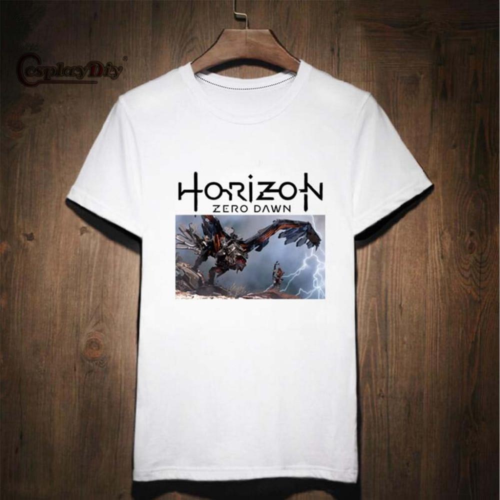 Cosplaydiy 2017 Hot Game Horizon Zero Dawn Adult Men Shirt Print Pattern Cotton Short Sleeves Costume Cosplay