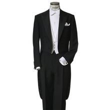 תפור לפי מידה כדי למדוד שחור tailcoats עם שמאל כיס חזה, לבן אפוד, העידו ארוך זנב טוקסידו מעייל פראק, מותאם ערב חליפה