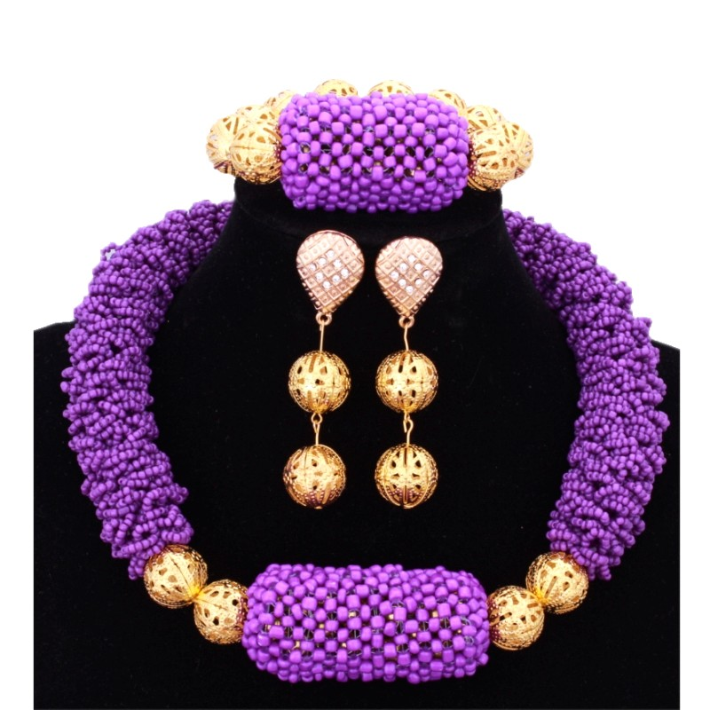 Luxury Plated Gold African Beads Dubai Purple Jewelry Sets Indian Choker Nigerian Wedding Necklace Bracelet Earrings 2017 Newest