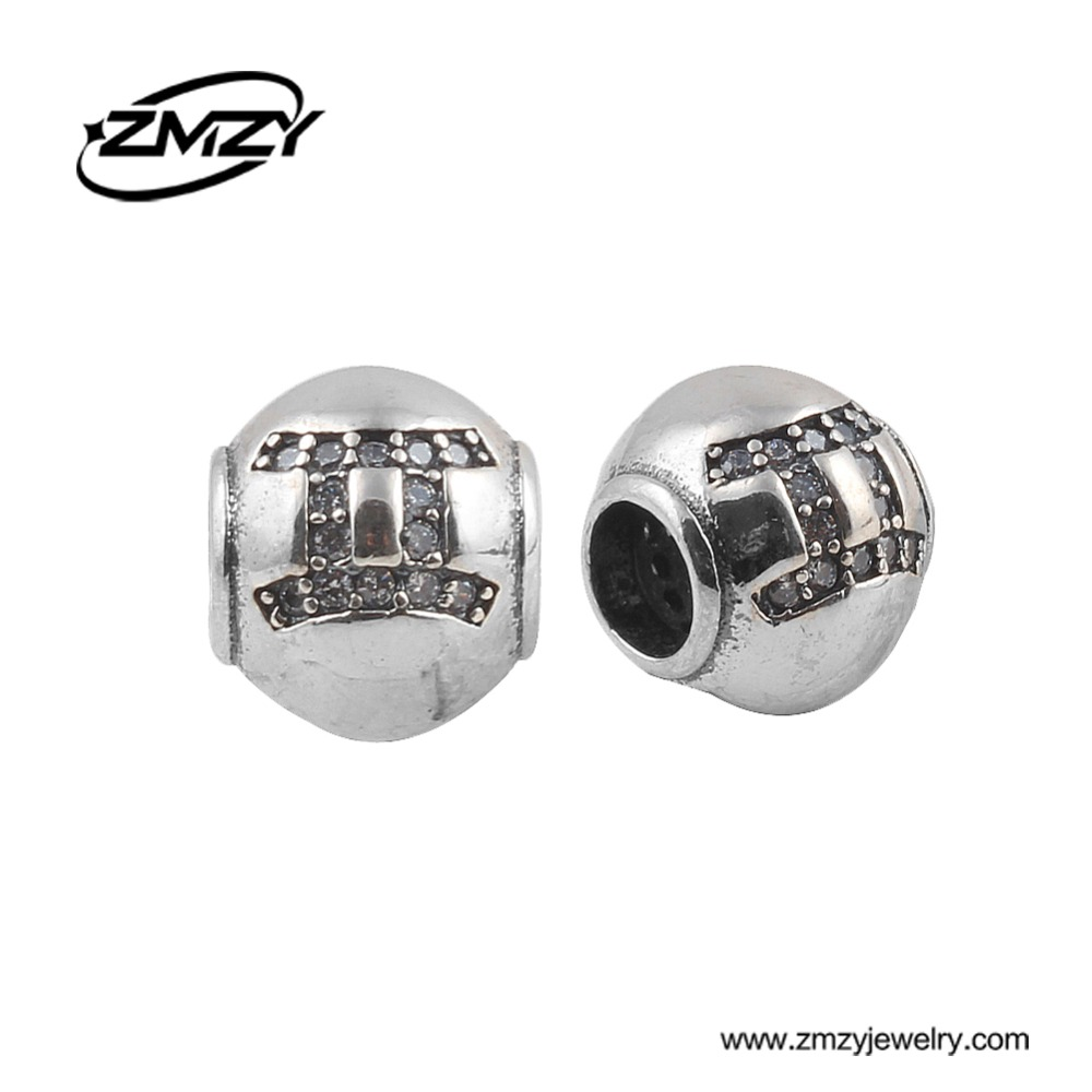 ZMZY 100% 925 Original Sterling Silver Crystal Gemini Mark Big Hole Charm Beads Fit Pandora Charm Bracelet DIY Jewelry