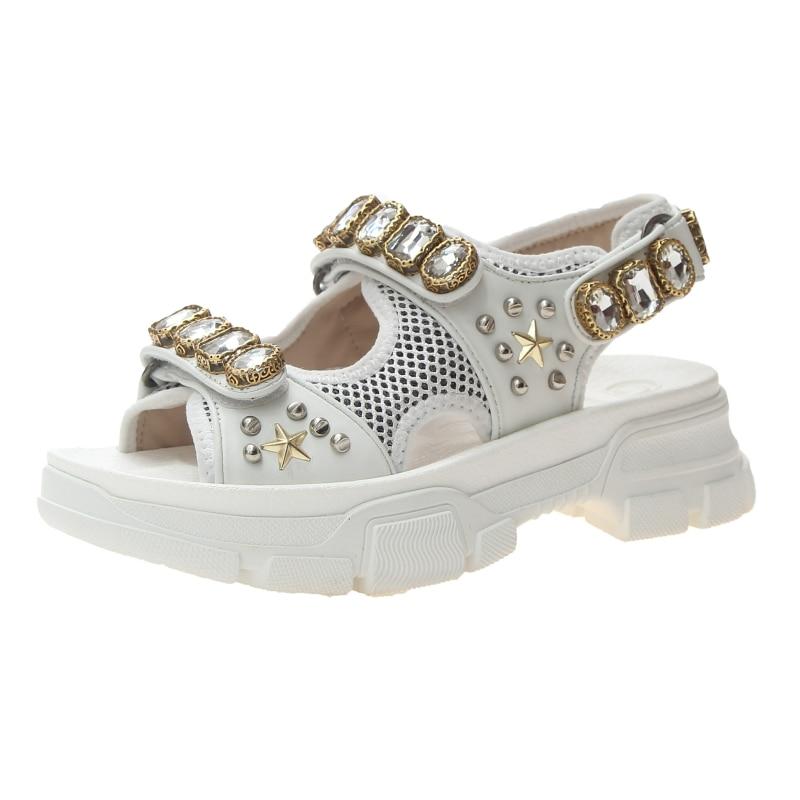 HTB1bm7UOhjaK1RjSZFAq6zdLFXaC Hollow out open-toed women sandals fashion diamond beads women outdoor wedge shoes Women Waterproof platform Summer shoes 2019