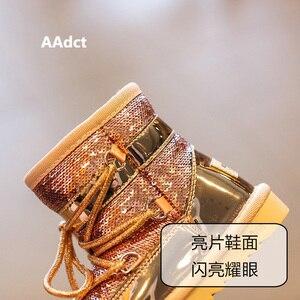 Image 4 - Aadct冬毛皮暖かい女の子ブーツファッション王女新雪のためのスパンコール綿子供靴ブランド2019
