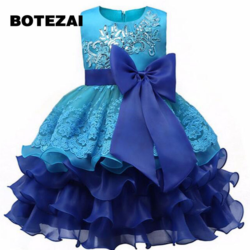 Summer Flower Lace Girls Wedding Pageant Party Dresses Princess Formal Prom Gowns Size 3-8 years 2017 New Kid girl clothes 2017 new fashion summer girls dress lace flower girl princess dresses kids party wedding prom gradution gowns children clothing