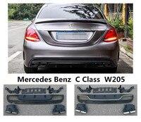 Для Mercedes Benz C Class W205 C180 C200 C250 C300 2015 2019 задний спойлер & эксхаузе высокое качество PP бампер диффузор