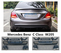 For Mercedes Benz C Class W205 C180 C200 C250 C300 2015 2019 Rear Lip Spoiler & Exhause High Quality PP Bumper Diffuser