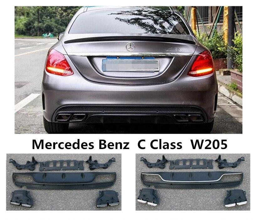 Pour Mercedes Benz C classe W205 C180 C200 C250 C300 2015-2019 aileron de lèvre arrière et diffuseur de pare-chocs PP de haute qualité
