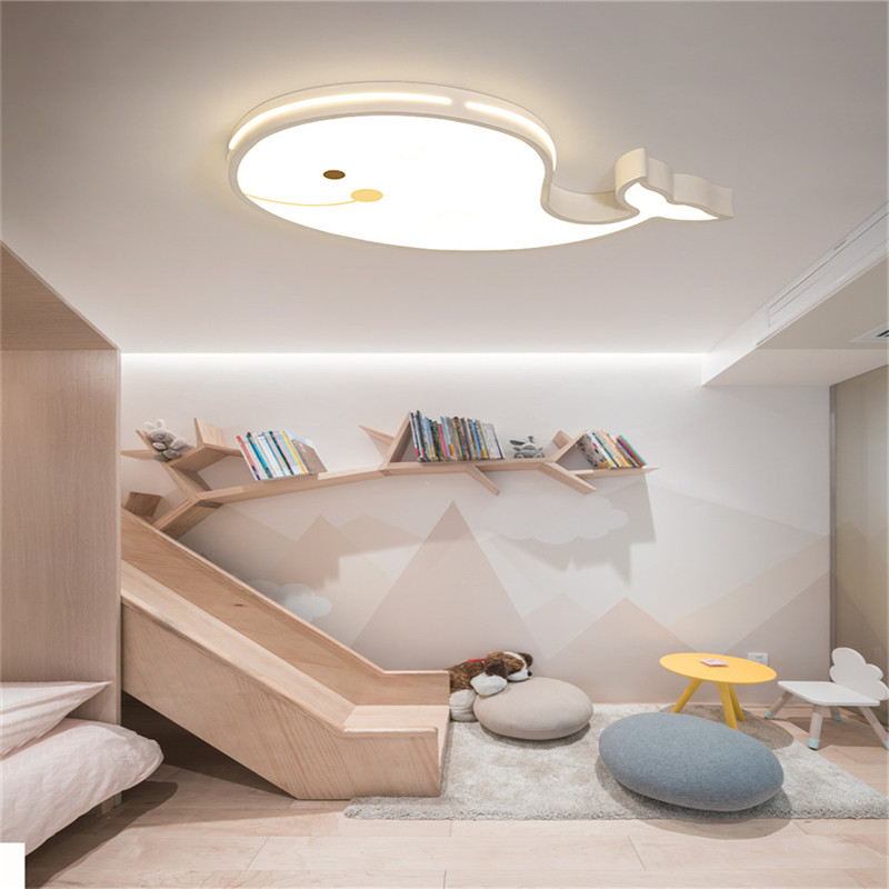 Modern Creative Whale led ceiling light for bedroom kids baby boy girl child ceiling light remote control ceiling lamp fixture