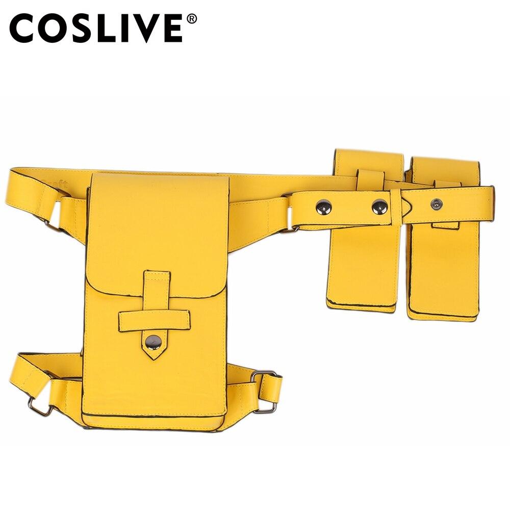 Coslive Batman Batgirl ceinture Cosplay accessoires jaune PU Faux cuir ceintures Halloween fête Costume accessoires ceinture avec étui