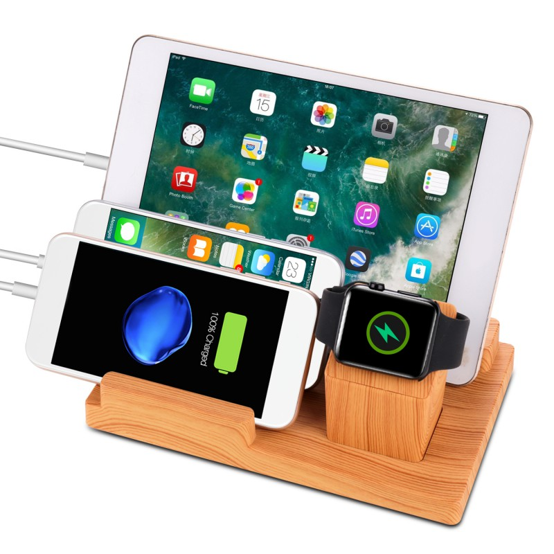 4 USB Ports Wooden Desk Charging Station Smartphone Charger Dock Stand For Apple Watch iPhone Plus 7 6 iPad234 Air