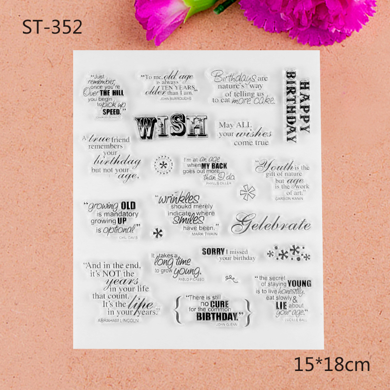 Greeting words Transparent Clear Stamp For DIY Scrapbooking Photo Album Paper Craft about lovely baby design transparent clear silicone stamp seal for diy scrapbooking photo album clear stamp paper craft cl 052