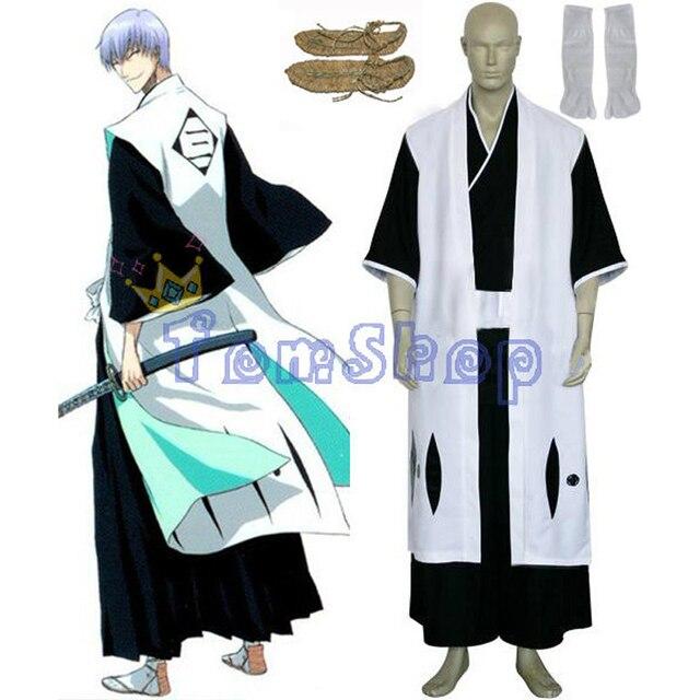 7f5223c023ba4 Bleach 3rd Division Captain Ichimaru Gin Cosplay Kimono Uniform Suit Men Halloween  Costumes w  Sandals