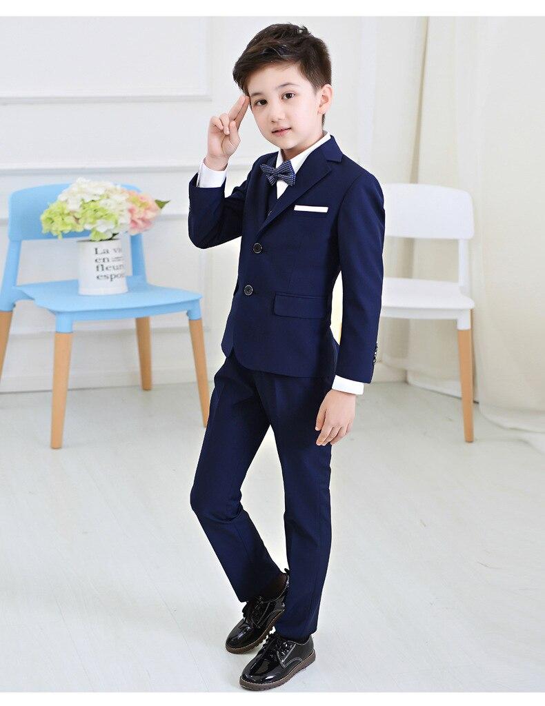 5 Teile/satz Baby Kinder Jungen Blazer Anzug Für Hochzeit Childern Jungen Kleider Formales Blau Gitter Prom Kommunion Partei Anzüge