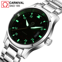 Carnival Mens Pilot Watches Top Brand Luxury Luminous Automatic Watch Men Mechanical Wristwatches Male Clock erkek kol saati