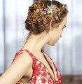 Pérolas de Água Doce de ouro Pente de Cabelo Pentes de Cabelo De Noiva Casamento Jóias Acessórios Para Mulheres Flor Do Vintage Headwear
