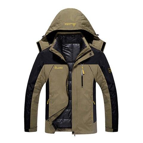 Winter Jacket Men 2 in 1 Waterproof Thick Warm Parkas Patchwork Windbreaker Hooded Downs Coats Outwear Thermal Jackets L-6XL Islamabad