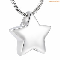 KLH9993 Modern Star Keepsake Pendant,Stainless Steel Cremation Jewelry Holds a Small Amount of Remains or a Piece of Hair