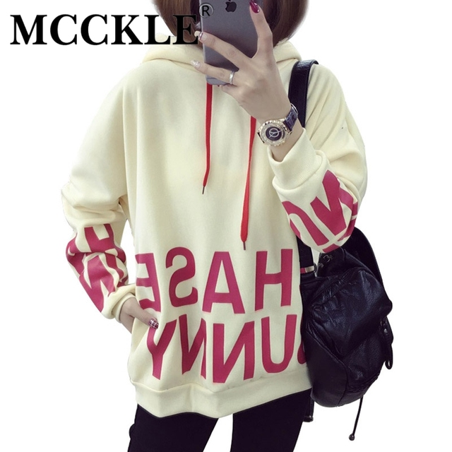 MCCKLE Harajuku Hoodies Womans Fashion Hooded Sweatshirts With Cute Ears Letters Printed Thick Casual Student Hoodie Sweatshirt