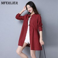 Mferlier Autumn Blouse Women Stand Collar Long Blouse Single Breasted Long Sleeve Casual Loose Red Black