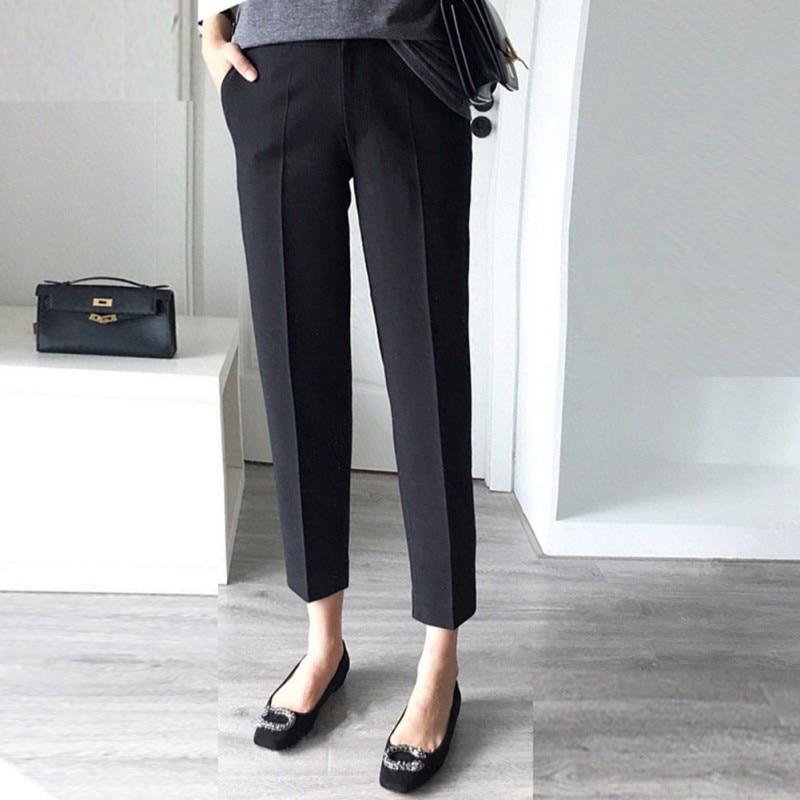 Women Summer Cotton Pants Casual Solid Colors Trousers High Waist Straight Nine Capris Female Pencil Pants