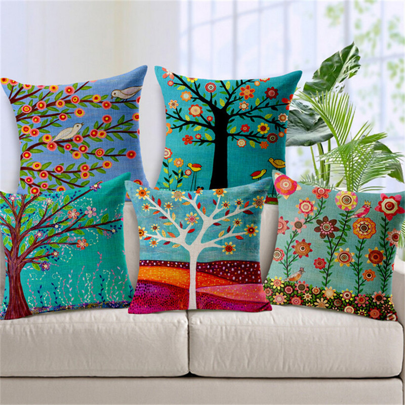 Painting trees Cushion Cover For Sofa Home Decor Almofadas Decorative Throw Pillows Case Colorful trees pillowcase in stock