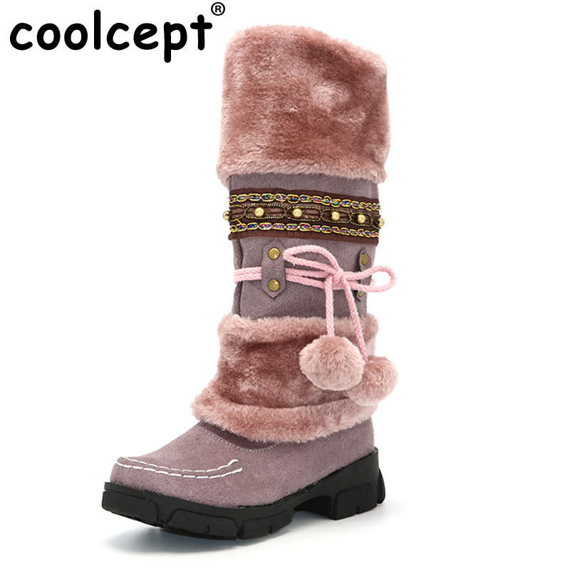 Coolcept Winter Warm Thickened Fur Over Knee High Heel Boots Women Shoes Fashion Sexy Botas Long Woman Footwear AH053 size 35-40