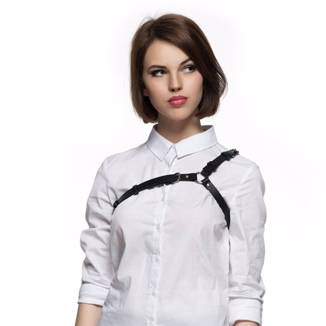 Punk harajuku women shoulder leather harness party punk gothic body bondage sexy accessory for lingerie