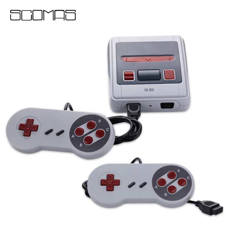 SCOMAS 16 Bits AV Out Mini Handheld Game Console Built-in 167 Classic Games with Dual Control Retro Gaming Entertaiment System