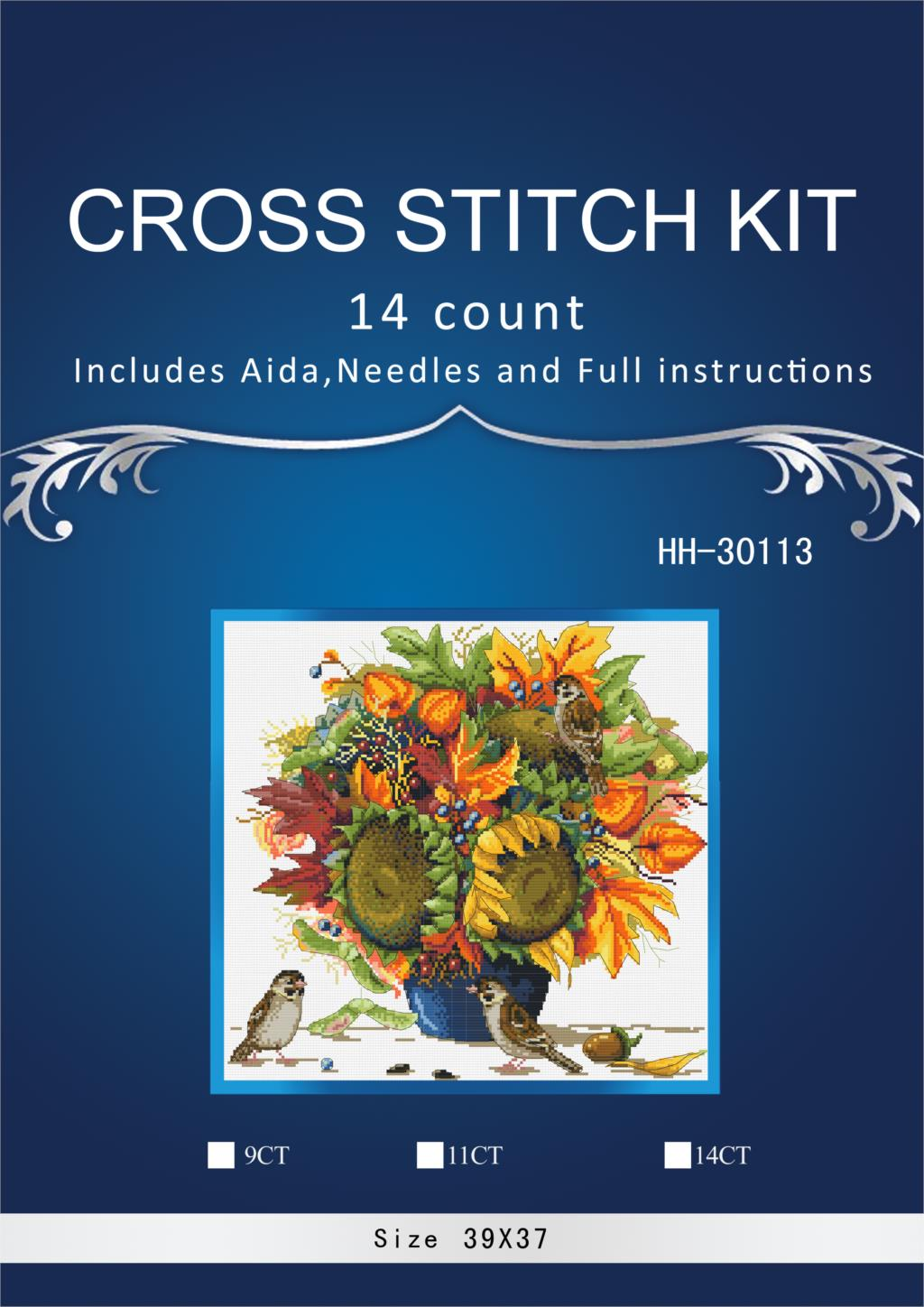1High Quality Lovely Counted Cross Stitch Kit Sunflower and Bird Sunflowers Bouquet Vase <font><b>merejka</b></font> image