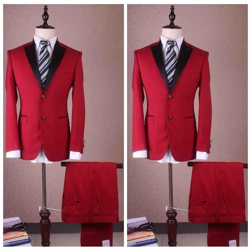 Di 2019 Pantaloni Da Groomsman Risvolto Rosso Vestito Smoking Uomo Classic  Pulsante Sposo Nozze Fit Notch giacca ... d6ff15f84ec