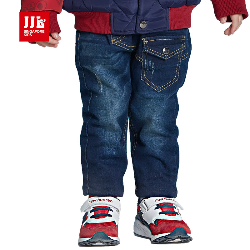 toddler boys jeans kids denim jeans full length dark blue kids jeans 2016 warm lining fleece baby pants fashion solid color