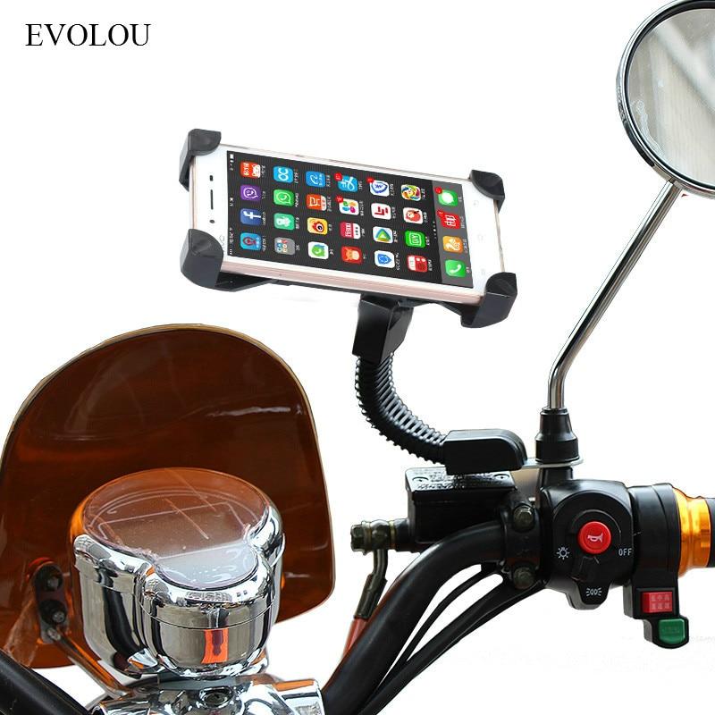 Universeller Motorradhalter Rückspiegel Telefonhalter Motorradhalterung Mobile Unterstützung für Moto für iPhone Xiaomi HUAWEI