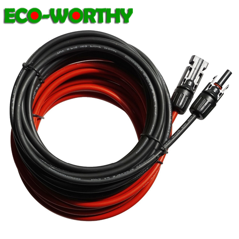 ECOWORTHY 5m black red Solar Cables Wires with MC4 Connector solar Panel Extension Cable for solar