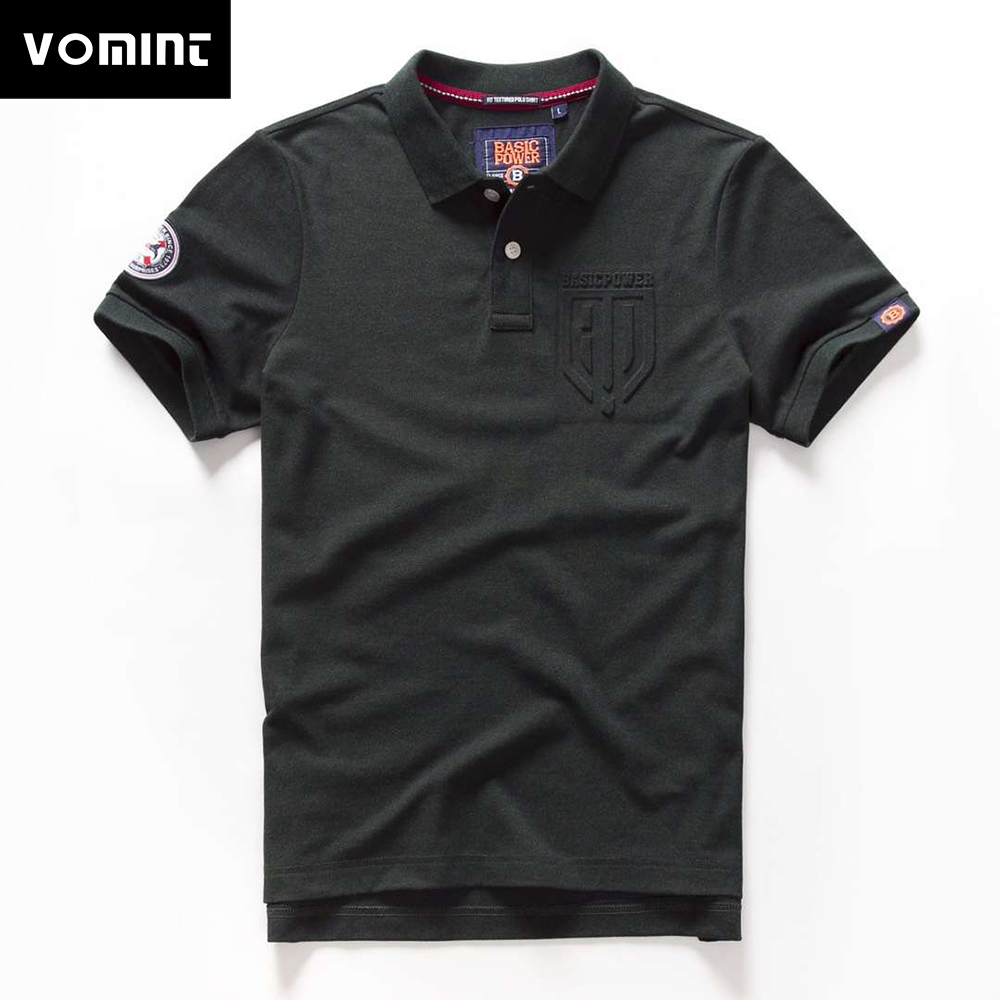 Vomint 2019 Summer Mens   Polo   Sanded Cotton Crew Neck   Polo   Short Sleeve Casual Letter Printing   Polo   shirtt BP6908