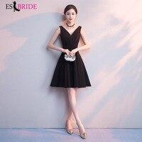 Black Evening Dresses Short Formal Elegant A Line Sleeveless Backless Appliques Wedding Guest Dress Party Gown Vestidos ES1700