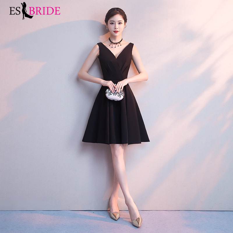 Black Evening Dresses Short Formal Elegant A-Line Sleeveless Backless Appliques Wedding Guest Dress Party Gown Vestidos ES1700