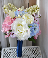 Handmade Artificial Flowers Bride Bridesmaid Holding Flowers Wedding Bouquet Floral Pink And Blue Style Rose Garden