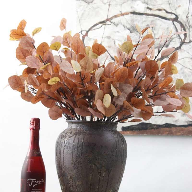 Новый Эвкалиптовое дерево ветка круглые листья искусственный денежный лист ретро Эвкалиптовое растение украшение искусственный цветок искусственная листва