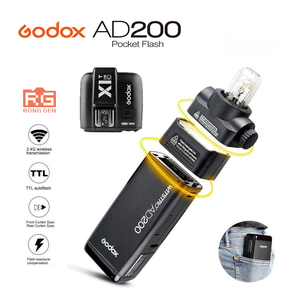 Godox AD200 высокое Скорость TTL Встроенный 2.4 г Беспроводной съемки на открытом воздухе SLR Flash карманные фонари + x1t триггера для Canon nikon Камера