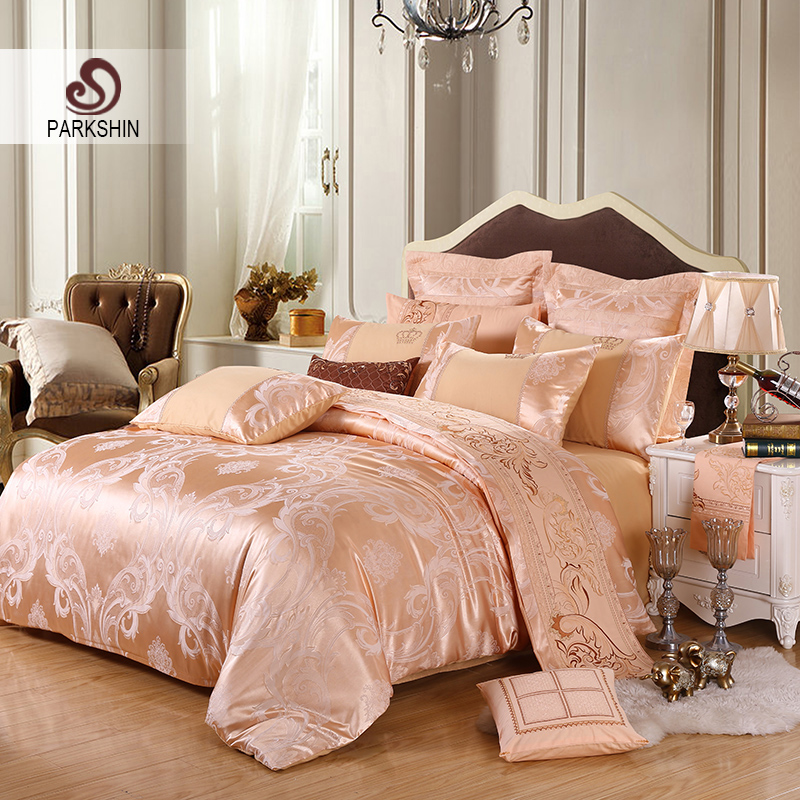 ParkShin Tibutle Silk Bedding Set Luxury Tencel Silk Duvet Cover Bedspread Camel Bed Linen Set Jacquard